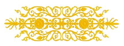 Verzierungselemente, Weinlesegoldblumenmuster stockfotografie