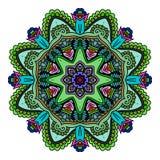 Verzierungsfarbkarte mit Mandala Dekorative Elemente der Weinlese Hand gezeichneter Hintergrund zeichen Stockbilder