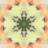 Verzierungsfarbkarte mit Mandala Elegante Mandala des geometrischen Kreiselements in der Orange und im Gelb Lizenzfreies Stockfoto