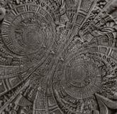 Verzierungsmusterdekorations-Designhintergrund der alten antiken klassischen Doppeltbronzespirale aztekischer Abstraktes Beschaff stockbilder