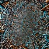Verzierungsmusterdekorationsdesign-Ausländerhintergrund der alten antiken klassischen Doppeltbronzespirale aztekischer Abstrakter stockfoto