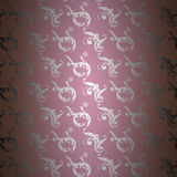Verzilver damastpatroon op purple Royalty-vrije Stock Foto