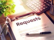Verzoeken - Tekst op Klembord 3d Royalty-vrije Stock Afbeeldingen