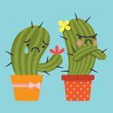 Verzoen en houdend van paar van cactus Royalty-vrije Stock Afbeelding
