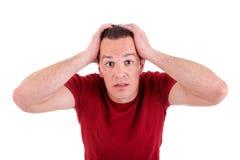Verzweiflungmann, mit den Händen auf Kopf Lizenzfreie Stockfotografie
