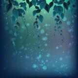 Verzweigen Sie sich mit Blättern auf einem abstrakten Hintergrund mit Stellen Stockfotos