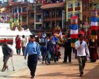 Vesak Buddhist Holiday Kathmandu Nepal. Parade approaching during Vesak Buddhist holiday in Boudha, Kathmandu, Nepal Stock Photo