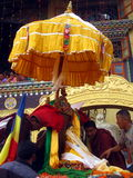 Vesak Buddhist Religious Holiday Kathmandu Nepal. Buddha statue being dressed and brought out for a procession marking part of the Buddhist religious holiday Royalty Free Stock Image