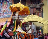 Vesak Buddhist Religious Holiday Kathmandu Nepal. Buddha statue being prepared for a Stock Photo