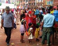 Vesak Buddhist Religious Holiday Kathmandu Nepal. Crowd participating in Vesak Buddhist religious holiday celebrations in Boudha, Kathmandu, Nepal Stock Photos