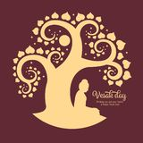 Vesak day banner with beside buddha Meditate under Bodhi tree abstract sign style vector design royalty free illustration
