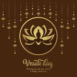 Vesak day banner with Lotus Hangers and Buddha hand on lotus in circle frame sign design Royalty Free Illustration