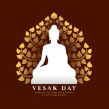 Vesak day banner with white buddha Meditate sign and gold Bodhi tree background vector design vector illustration
