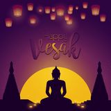 Vesak day card. Vector illustration with lamps and buddhas silhouette. Vector illustration greeting card for Vesak day with lamps and buddhas silhouette vector illustration