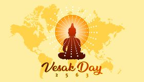 Vesak day greeting banner with Buddhist silhouette and world map background stock illustration