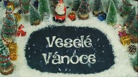 Veselé Và ¡ noce捷克的停止运动动画,用英语圣诞快乐 库存照片
