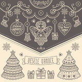 Vesele Vanoce. Christmas message. Lettering composition with phrase on Czech. Language. Warm wishes for happy holidays. Best for greeting card, promotion Royalty Free Stock Photo