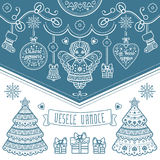 Vesele Vanoce. Christmas message. Lettering composition with phrase on Czech. Language. Warm wishes for happy holidays. Best for greeting card, promotion Stock Photography