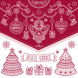 Vesele Vanoce. Christmas message. Lettering composition with phrase on Czech. Language. Warm wishes for happy holidays. Best for greeting card, promotion Stock Image