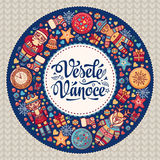 Vesele Vanoce. Christmas message. Lettering composition with phrase on Czech. Language. Warm wishes for happy holidays. Best for greeting card, promotion Royalty Free Stock Photography