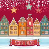 Vesele Vanoce. Christmas message. Lettering composition with phrase on Czech. Language. Warm wishes for happy holidays. Best for greeting card, promotion Royalty Free Stock Photos