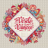 Vesele Vanoce. Christmas message. Lettering composition with phrase on Czech. Language. Warm wishes for happy holidays. Best for greeting card, promotion Royalty Free Stock Images