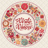 Vesele Vanoce. Christmas message. Lettering composition with phrase on Czech. Language. Warm wishes for happy holidays. Best for greeting card, promotion Stock Photo