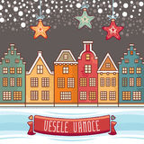 Vesele Vanoce. Christmas message. Lettering composition with phrase on Czech. Language. Warm wishes for happy holidays. Best for greeting card, promotion Stock Images