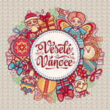 Vesele Vanoce. Christmas message. Lettering composition with phrase on Czech. Language. Warm wishes for happy holidays. Best for greeting card, promotion Stock Photos