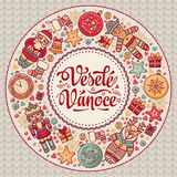 Vesele Vanoce. Christmas message. Lettering composition with phrase on Czech. Language. Warm wishes for happy holidays. Best for greeting card, promotion Royalty Free Stock Image