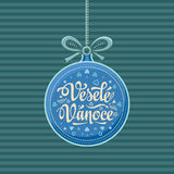 Vesele Vanoce Greeting Card in heart form. Royalty Free Stock Photo