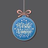 Vesele Vanoce Greeting Card in heart form. Royalty Free Stock Image