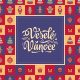 Vesele vanoce -  greeting cards. Xmas in the Czech Republic. Stock Photos