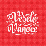 Vesele vanoce. Lettering text for greeting cards. Xmas in the Czech Republic. Stock Image