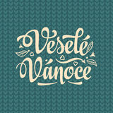 Vesele vanoce. Lettering text for greeting cards. Xmas in the Czech Republic. Stock Images