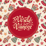 Vesele Vanoce. Xmas card on Czech language. Warm wishes for happy holidays Royalty Free Stock Photos
