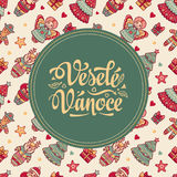 Vesele Vanoce. Xmas card on Czech language. Warm wishes for happy holidays Royalty Free Stock Photo