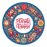 Vesele Vanoce. Xmas card on Czech language. Warm wishes for happy holidays Stock Image