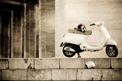 Vespa. A brand new Vespa having a breather on her way to a wedding Royalty Free Stock Images