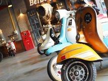 Vespa. Colorful Retro motorcycle vintage royalty free stock image