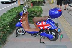 Vespa con la bandera inglesa Fotografía de archivo
