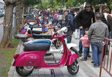 Vespa models exposed in a local fair Royalty Free Stock Photography