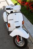 Vespa Motor Scooter. Vespa motor bike parked outside Stock Image