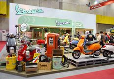 Vespa motor scooter booth Stock Photography