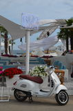 Vespa parking at the beach club. Odessa is a resort on a Black Sea. We have our own Ibiza - the most popular beach and night club in Ukraine. Must-visit Stock Image