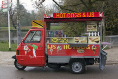 Vespa piaggio ape 50 hot dog car Royalty Free Stock Image