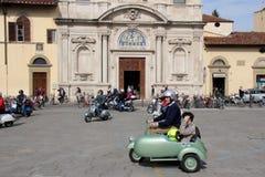 Vespa Piaggio, ралли Vespa в Флоренсе Стоковое Фото