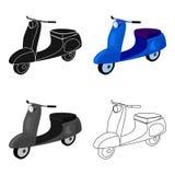 Vespa rodada del azul dos Transporte para mover alrededor la ciudad Transporte el solo icono en símbolo del vector del estilo de  Fotos de archivo