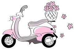 Vespa rosada con las flores Imagen de archivo libre de regalías