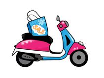Vespa sale. Vespa scooter with shop bag Royalty Free Stock Photos